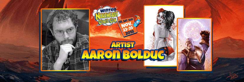 Artist Aaron Bolduc at the NorthEast Comic Con November 2018